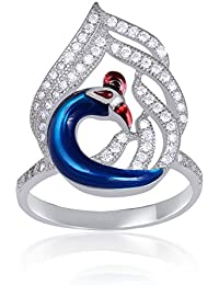 Shiyara Jewells Sterling Silver Dancing Peacock Ring With CZ Stones For Women(FR00081)