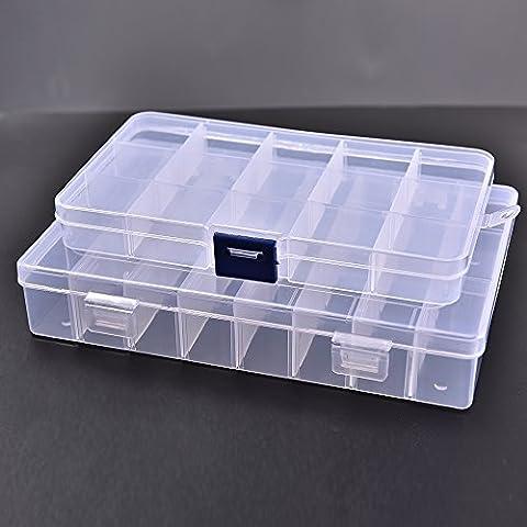 Plástico transparente caja de joyería, ajustable transparente rígida de plástico anillo de joyas, pendientes, perlas, costura, pastillas, caja de almacenamiento de accesorios (unidades)