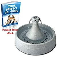 Cat & Dog Drinking Fountain + 3 Free Replacement Filters. Waterfall Like Running Tapwater With Integrated 3.8L Water Reservoir By eCommerce Excellence