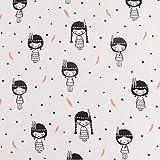 Jersey-Stoff Baumwolljersey Indianer Mädchen hellgrau schwarz 1,45m Breite