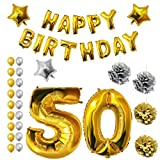 BELLE VOUS Ballons Fête Anniversaire Happy Birthday Fournitures Or & Argent (Age 50)