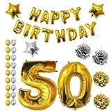 BELLE VOUS Geburtstags-Luftballons, Zubehor und Dekorationen Geburtstag(Age 50)