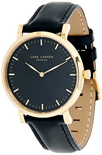Lars Larsen Women's Quartz Watch with Black Dial Analogue Display and Black Leather Strap 144GBBLL