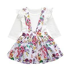 Dreamkon Fashion Toddler Kids Baby Girl Princess Party Solid Jumpsuit +Floral Print Tutu Dress