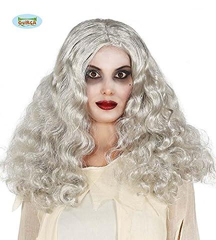 Geisterperücke Hexen Perücke grau lang lockig Geist Halloween Party Hexenperücke (Graue Geist Kostüm)