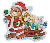 Unbekannt XL Fensterbild - Teddy Schlitten Weihnachten Weihnachtsbaum GLITTER Glitzer - Sticker Fenstersticker