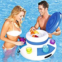 GJXY Inflatable Ice Bucket Cooler Bag with 6 cup holders for Pool, Floating Bar Beer Bucke Drink holder Float Support Can Bottle Cups for Summer Beach Pool Party,PVC