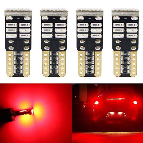 AMAZENAR Pack de 4-194 168 2825 W5W T10 Ampoule de Rechange Sans Polarité LED 12V Rouge 3014 18SMD Ampoules de Rechange LED