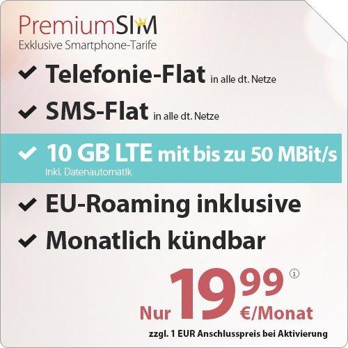 PremiumSIM LTE 10000 [SIM, Micro-SIM und Nano-SIM] monatlich kündbar (10 GB LTE mit max. 50 MBit/s inkl. Datenautomatik, Telefonie-Flat und SMS-Flat, EU-Roaming inklusive, 19,99 Euro/Monat)