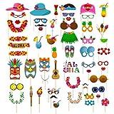 Dsaren 60 Pcs Accessoires Photo Booth Props Moustache avec Bâton Accessoires de Photos Hawaïen pour Noël Fête d'anniversaire, Parties de Piscine de Plage, Mariage