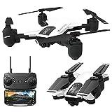 Drone Follow Me Drone con FPV commutazione doppia videocamera HD WiFi Droni modalità Senza Testa Quadcopter Telecomando Controller Smartphone Modalità Gesto Posizionamento del Flusso Ottico (Bianco)