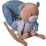 Stimo24 Schaukeltier / Baby Kind Schaukel (mit Sicherheitsgurt und Kippschutz) (BÄR BLAU)
