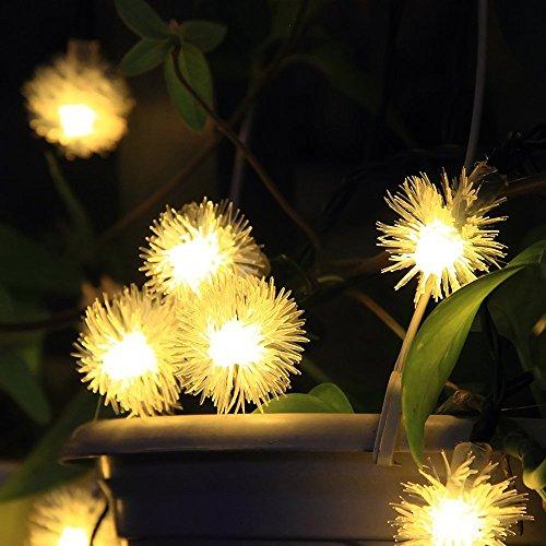 InnooTech 20er Pusteblumen LED Solar Lichterkette Garten Kugel Außen Warmweiß 4,8 Meter, Solar Beleuchtung Kugel Schneebälle für Party, Weihnachten, Outdoor, Fest Deko usw.