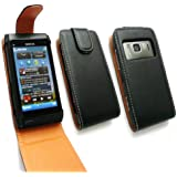FLASH SUPERSTORE NOKIA N8 LUXURY PU LEATHER FLIP CASE COVER BLACK / TAN + SCREEN PROTECTOR