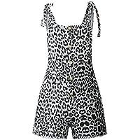 DressUWomen Bolsillos de impresión suelta guardapolvos botones de moda cortocircuitos para Mujers