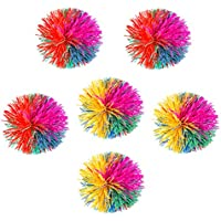 NUOBESTY 6pcs 6cm balón fibrosa colorido de silicona juguete alivio pompones arte para los niños adolescentes (color al azar)