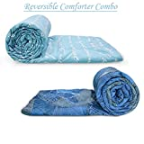 Divine Casa Luxor Abstract 2 Piece Polyester Single Comforter - Sky Blue and Nevy Denim Blue