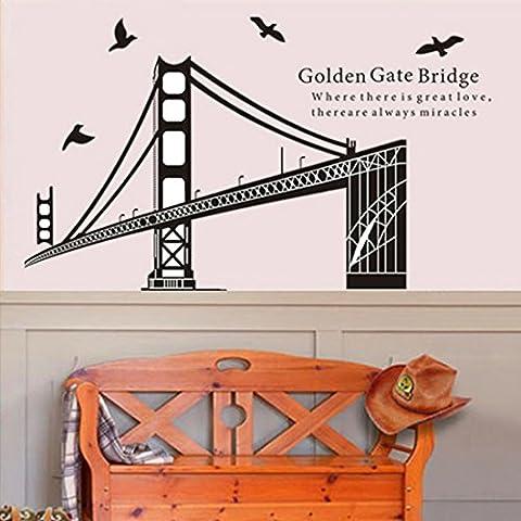 Uccelli Golden Gate Bridge in PVC adesivo da parete in vinile, removibile salone camera da letto Cucina Art Picture Murals Sticks finestra porta decorazione + 3d rana regalo adesivo per auto