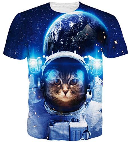 Goodstoworld para Mujer para Hombre Galaxy Espacio Gato 3D de impresión Camiseta de Verano Personalizada Casual de Manga Corta Camiseta T-Tops Grande