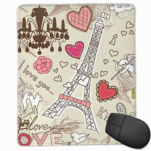 dges, Doodles Illustration Of Eiffel Tower Hearts Chandelier Flower Love Valentines Vintage,Gaming Mouse Pad Non-Slip Rubber Base ()