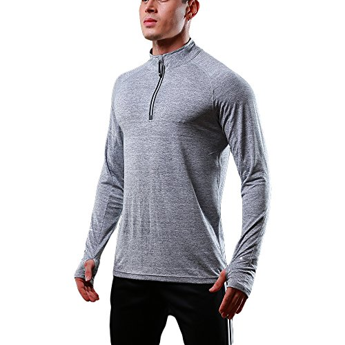 FELiCON® Mens Zip Long Sleeve T Shirt Quick Dry Warm-up Sweatshirt Running Jogging Top Tee Jacket Mens Base Layer Sportswear Clothing