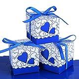 100 pz Scatole Portaconfetti di Carta incluso Nastrino Bomboniere Regalo Segnaposti Decorazioni per Festa Matrimonio Battesimo (Blu Scuro)