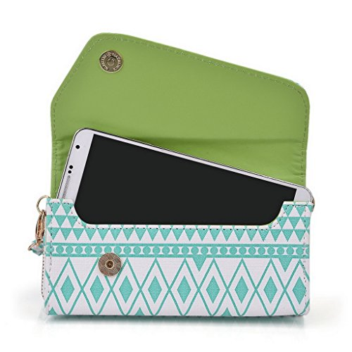 Kroo Tribal Urban Style Housse cas Wall Let Embrayage compatible avec Samsung Galaxy Note II mehrfarbig - grün mehrfarbig - White with Mint Blue