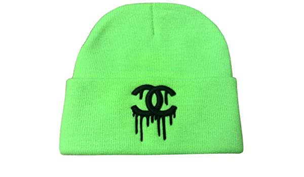 6110aa6be7a NEON GREEN DRIPPING CC BEANIE CHANEL  Amazon.co.uk  Sports   Outdoors