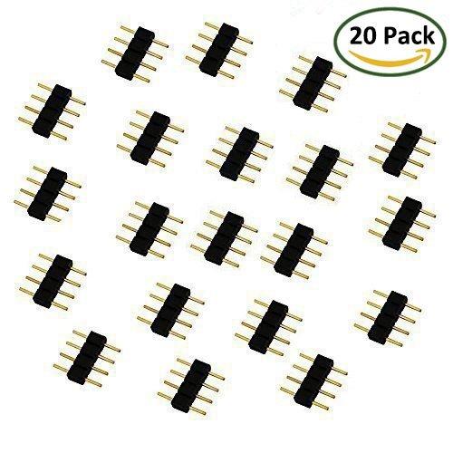 LitaElek - Confezione di 20 connettori a 4 poli, adattatori per illuminazione LED SMD 3528/5050 RGB LED
