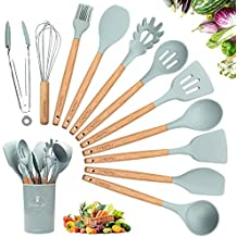 Kitchen Utensil Set Silicone Cooking Utensils - 11+1 Pieces Cooking Spatula Turner Heat Resistant Tools with Wooden Handle for Nonstick Non Scratch Cookware - Best Kitchen Tool Gadgets with Holder