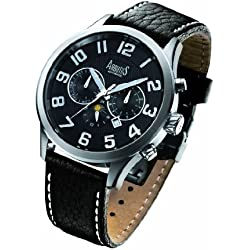 Arbutus Men's Automatic Watch with Black Dial Analogue Display and Black Leather Strap AR505SBB