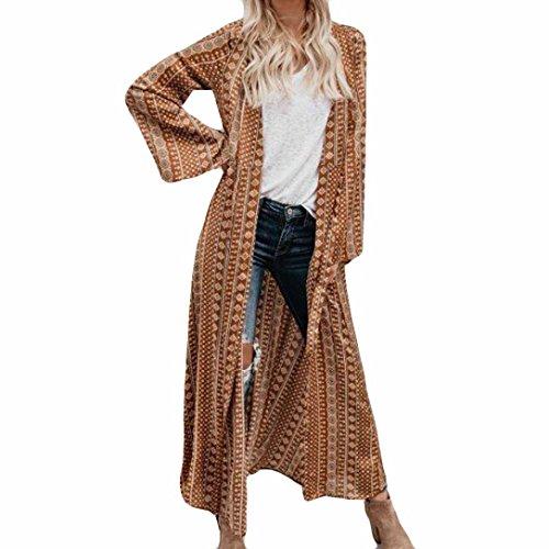 Tshirt Oberteile Damen Elegant Sommer Kurzarm Chiffon Flower Print Lange Mantel Tops Anzug Kimono Cover Beach Smock (Khaki, L)