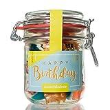 Happy Birthday Fruchtgummis von Naschlabor– Dein Mitgebsel zum Geburtstagegeschenk in der praktischen Vorratsdose
