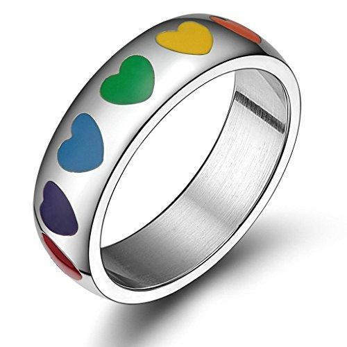 Edelstahlring Unisex (Damen Herren) Ringe lieben Liebe Herz Bandring Regenbogen Verlobungsring Größe 67 (21.3) - Adisaer (Perle Feder Maske Onyx)