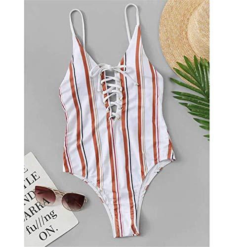 Cxmm Frauen 'S Pink Stripes Einteiliger Badeanzug Europa Und Amerika Sexy Strap Bikini Mode Halter Urlaub Strand Strumpfhosen Korsett -