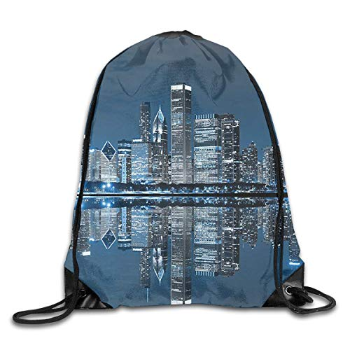 Etryrt Mochilas/Bolsas de Gimnasia,Bolsas de Cuerdas, Sleeping City Dramatic Gym Sport Bag Drawstring Bag Backpack Draw Cord Bag for Men Women Gym,Sport,Yoga,Dance,Travel