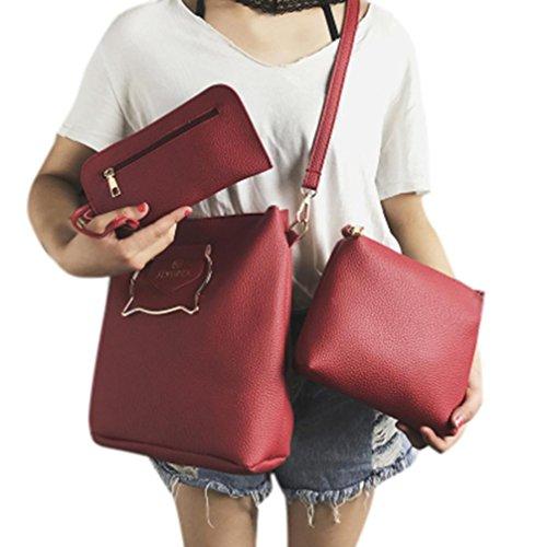 Kanpola Frau Drei Stück Tasche Handtasche Schultertasche Messenger Bag (weinrot) (Drawstring Troddel Handtasche)