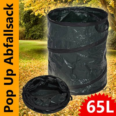 Pro Garden Garten Müllsack 65 Liter mit Tragegriffen und Pop-Up Funktion