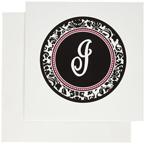 3drose Buchstabe I Elegant Monogramm Kreis–Personal Initiale schwarz Damast mit Hot Pink–Grußkarten, 15,2x 15,2cm, Set 12(GC _ 154601_ - Einladungen Pink Hot Geburtstag