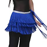 Kisshes Damen Bauchtanz Hüfttuch Latin Belly Dance Bauchtänzerin Kostüm Gürtel mit Fransen und Pailletten