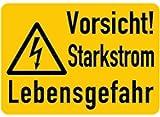 Aufkleber Vorsicht! Starkstrom Lebensgefahr 37x52mm