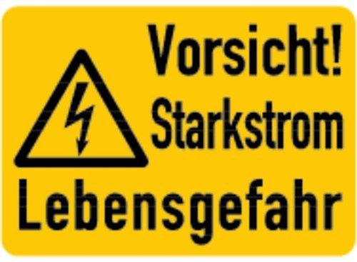 LEMAX® Aufkleber Vorsicht! Starkstrom Lebensgefahr 37x52mm