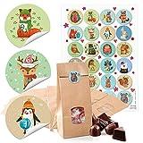 24 kleine braune Papiertüten mit Fenster Boden und Pergamin 10,5 x 6,5 x 29 cm + 1 bis 24 Zahlen Aufkleber Kinder Advent Winter-Tiere bunt basteln be-füllen Advents-Kalender Weihnachten bio