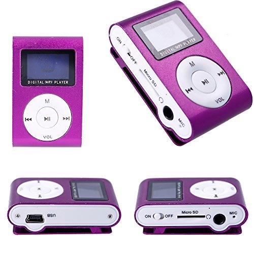 Cable de Carga Mini Reproductor MP3 con Pantalla LCD y Enganche de Clip Electr/ónica Rey/® Music Player Lila Tarjeta de 4Gb Auricular Blanco