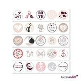 25 Hochzeits-Aufkleber I dv_084_rosa I Ø 3,6 cm I Rund Set Freudentränen-Sticker Hochzeits-Sticker Geschenk-Aufkleber Gastgeschenk Mitgebsel Altrosa