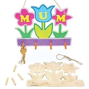 Appendichiavi in Legno con Fiori per Bambini da Creare, Dipingere, Decorare e Regalare per la Festa della Mamma (confezione da 3)