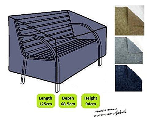 HomeStore Global Schutzhülle für Gartenbank (mit Runde Armlehnen) - Dicke & Hochwertiges strapazierfähiges 600D Polyester Canvas mit Doppel genähte Nähte für extra Stärke,...