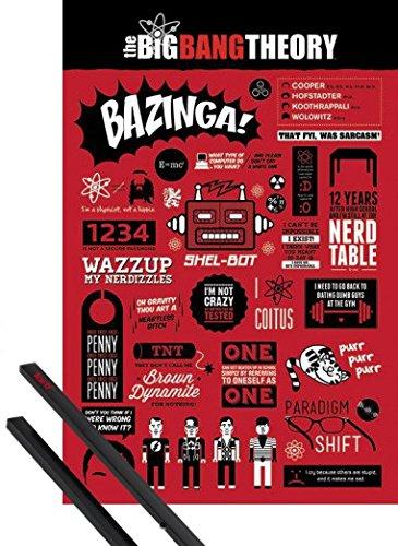 1art1® Poster + Suspension : The Big Bang Theory Poster (91x61 cm) Diagramme Et Kit De Fixation Noir
