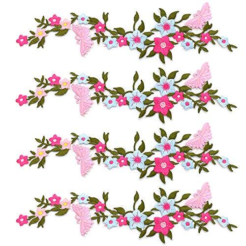 zeng 4 Stück Schmetterlinge Blume Applique Stickerei Tuch Paste Blüte Blume Applique Kleidung Patch DIY gestickt Blume Patches4