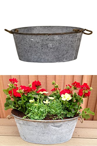 east2eden-oval-48cm-covent-garden-galvanised-zinc-metal-tin-plant-flower-planter-pot-single